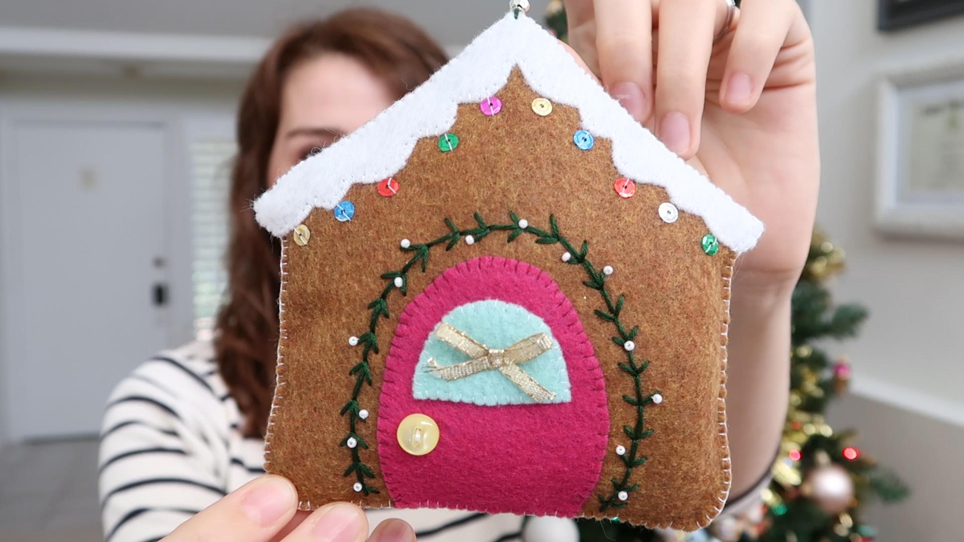 DIY Felt Gingerbread House Christmas Ornament   Holiday